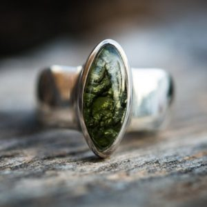 Shop Moldavite Rings! Moldavite Ring 8.5 – Silver and Moldavite half raw half Smooth Ring size 8.5(unisex) – Moldavite Ring size 8.5 – raw moldavite ring | Natural genuine Moldavite rings, simple unique handcrafted gemstone rings. #rings #jewelry #shopping #gift #handmade #fashion #style #affiliate #ad