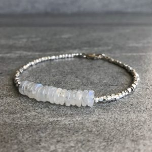 Shop Moonstone Bracelets! Rainbow Moonstone Bracelet | Semi Precious Stone Jewelry | Sterling Silver Delicate Gemstone Bracelet Set | Genuine Moonstone Jewelry | Natural genuine Moonstone bracelets. Buy crystal jewelry, handmade handcrafted artisan jewelry for women.  Unique handmade gift ideas. #jewelry #beadedbracelets #beadedjewelry #gift #shopping #handmadejewelry #fashion #style #product #bracelets #affiliate #ad