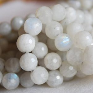 "Shop Moonstone Faceted Beads! High Quality Grade A Natural Rainbow Moonstone FACETED Semi-precious Gemstone Round Beads – 6mm, 8mm, 10mm sizes – Approx 15"" strand 