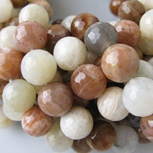 "Shop Moonstone Faceted Beads! Multi-color Moonstone Faceted Round Beads 10mm 12mm 15.5"" Strand 
