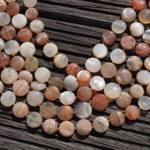 Shop Moonstone Bead Shapes! Shiny polished Moonstone 14-16mm button beads (ETB00104) | Natural genuine other-shape Moonstone beads for beading and jewelry making.  #jewelry #beads #beadedjewelry #diyjewelry #jewelrymaking #beadstore #beading #affiliate #ad