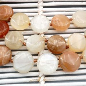 Shop Moonstone Bead Shapes! Shiny polished Moonstone 12-13mm button beads (ETB00411) | Natural genuine other-shape Moonstone beads for beading and jewelry making.  #jewelry #beads #beadedjewelry #diyjewelry #jewelrymaking #beadstore #beading #affiliate #ad