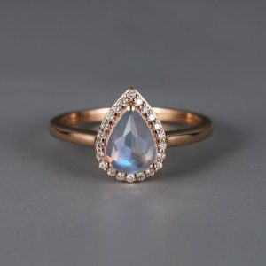 Shop Moonstone Engagement Rings! Moonstone Engagement Ring Rose gold engagement ring Vintage Women Wedding Antique Unique Halo set Bridal Jewelry Anniversary | Natural genuine Moonstone rings, simple unique alternative gemstone engagement rings. #rings #jewelry #bridal #wedding #jewelryaccessories #engagementrings #weddingideas #affiliate #ad