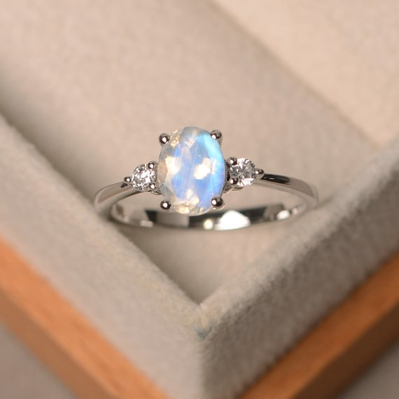 Natural Blue Moonstone Rings, Engagement Rings, June Birthstone, Oval Cut Rings, Sterling Silver Ring