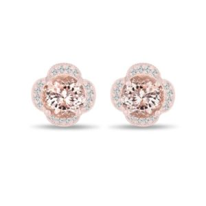 Shop Morganite Earrings! Morganite Earrings Rose Gold, 3.32 Carat Diamond Floral Cluster Earrings, Pink Peach Morganite Stud Earrings, Halo Pave Handmade Unique | Natural genuine Morganite earrings. Buy crystal jewelry, handmade handcrafted artisan jewelry for women.  Unique handmade gift ideas. #jewelry #beadedearrings #beadedjewelry #gift #shopping #handmadejewelry #fashion #style #product #earrings #affiliate #ad