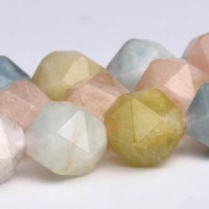 "Shop Morganite Faceted Beads! 7MM Beryl Morganite Aquamarine Beads Star Cut Faceted Grade AA Genuine Natural Gemstone Loose Beads 15"" BULK LOT 1,3,5,10,50 (102596-549) 