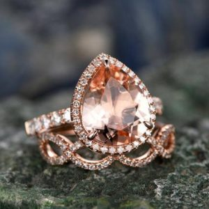 2pcs tear dropped morganite engagement ring set 14k rose gold matching band diamond halo big gift wedding bridal promise ring set for her | Natural genuine Array rings, simple unique alternative gemstone engagement rings. #rings #jewelry #bridal #wedding #jewelryaccessories #engagementrings #weddingideas #affiliate #ad