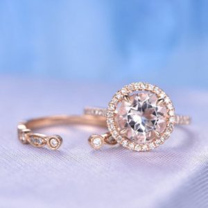 2pcs Wedding Ring Set Morganite Engagement Ring 8mm Round cut 14k Rose gold art deco diamond Matching Band Opening Design Matching Band | Natural genuine Array rings, simple unique alternative gemstone engagement rings. #rings #jewelry #bridal #wedding #jewelryaccessories #engagementrings #weddingideas #affiliate #ad