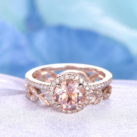 2pcs Wedding Ring Set Morganite Engagement Ring 14k Rose Gold Full Eternity Diamond Matching Band 7mm Round Stone Art Deco Floral Milgrain