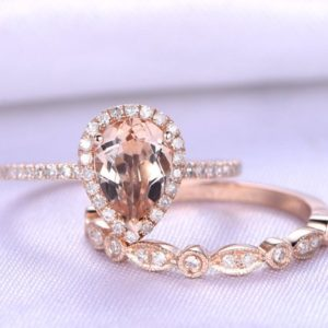2pcs Wedding Ring Set Morganite Engagement Ring 6x8mm Pear Shape Birthstone 14k Rose gold Diamond Matching Band Art Deco Custom Ring | Natural genuine Gemstone rings, simple unique alternative gemstone engagement rings. #rings #jewelry #bridal #wedding #jewelryaccessories #engagementrings #weddingideas #affiliate #ad