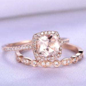 2pcs Wedding Ring Set Morganite Engagement Ring 7mm Cushion Cut Morganite Ring VS Natural Pink Gem Stone Diamond Wedding Band 14k Rose gold | Natural genuine Array jewelry. Buy handcrafted artisan wedding jewelry.  Unique handmade bridal jewelry gift ideas. #jewelry #beadedjewelry #gift #crystaljewelry #shopping #handmadejewelry #wedding #bridal #jewelry #affiliate #ad