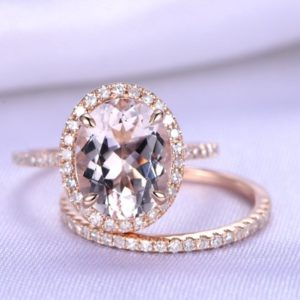 2pcs Wedding Ring Set Morganite Engagement Ring 7x9mm Oval Cut Pink Gemstone Half Eternity Diamond Matching Band 14k Rose gold Bridal Set | Natural genuine Array jewelry. Buy handcrafted artisan wedding jewelry.  Unique handmade bridal jewelry gift ideas. #jewelry #beadedjewelry #gift #crystaljewelry #shopping #handmadejewelry #wedding #bridal #jewelry #affiliate #ad