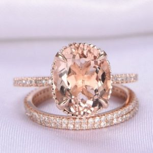 Shop Morganite Jewelry! 3pcs Wedding Ring Set Morganite Engagement Ring 9x11mm Big Oval Morganite Promise Ring 14k Rose Gold Full Eternity Diamond Matching Band | Natural genuine Morganite jewelry. Buy handcrafted artisan wedding jewelry.  Unique handmade bridal jewelry gift ideas. #jewelry #beadedjewelry #gift #crystaljewelry #shopping #handmadejewelry #wedding #bridal #jewelry #affiliate #ad