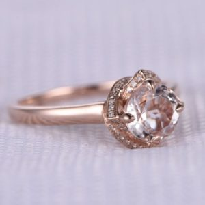 Shop Morganite Engagement Rings! 6.5mm Round Pink Morganite Engagement Ring 14k Rose Gold Diamond Wedding Band Retro Vintage Floral Halo Personalized for her/him Custom Ring | Natural genuine Morganite rings, simple unique alternative gemstone engagement rings. #rings #jewelry #bridal #wedding #jewelryaccessories #engagementrings #weddingideas #affiliate #ad
