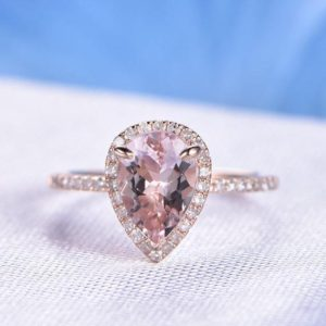 6x9mm Pear Morganite Engagement Ring Diamond Wedding Band Unique Morganite Bridal Ring 14k Rose gold Personalized for her/him Custom ring | Natural genuine Array rings, simple unique alternative gemstone engagement rings. #rings #jewelry #bridal #wedding #jewelryaccessories #engagementrings #weddingideas #affiliate #ad