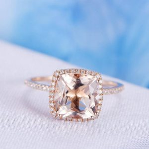 Shop Morganite Jewelry! 9mm Big Cushion Morganite Engagement Ring 14k Rose Gold Gemstone Diamond Wedding Band Halo And 8 Prongs Personalized for her/him Custom | Natural genuine Morganite jewelry. Buy handcrafted artisan wedding jewelry.  Unique handmade bridal jewelry gift ideas. #jewelry #beadedjewelry #gift #crystaljewelry #shopping #handmadejewelry #wedding #bridal #jewelry #affiliate #ad