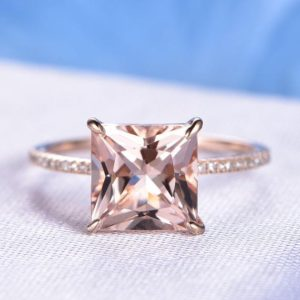 9mm Princess Cut Pink Morganite Engagement Ring Solid 14k Rose Gold Gemstone Diamond Wedding Band Bridal Ring Claw Prongs Custom Made Ring | Natural genuine Array jewelry. Buy handcrafted artisan wedding jewelry.  Unique handmade bridal jewelry gift ideas. #jewelry #beadedjewelry #gift #crystaljewelry #shopping #handmadejewelry #wedding #bridal #jewelry #affiliate #ad