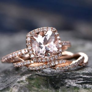 Cushion Morganite engagement ring-Solid 14k Rose gold morganite ring set-Twisted Real Diamond Band- promise ring for her -halo wedding band | Natural genuine Gemstone rings, simple unique alternative gemstone engagement rings. #rings #jewelry #bridal #wedding #jewelryaccessories #engagementrings #weddingideas #affiliate #ad