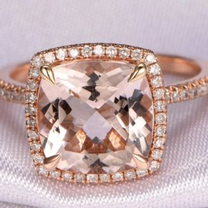 Morganite Engagement Ring 14k Rose Gold Morganite Ring 9x9mm Cushion Cut Pink Stone Halo Diamond Wedding Band Diamond Underneath Bridal Ring | Natural genuine Array jewelry. Buy handcrafted artisan wedding jewelry.  Unique handmade bridal jewelry gift ideas. #jewelry #beadedjewelry #gift #crystaljewelry #shopping #handmadejewelry #wedding #bridal #jewelry #affiliate #ad