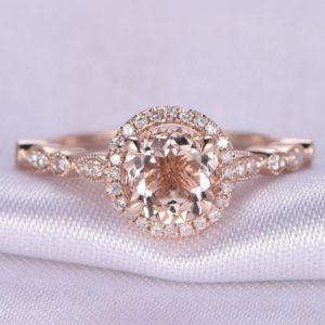 Shop Morganite Jewelry! Morganite Engagement Ring 14k Rose Gold 6.5mm Round Moganite Ring Art Deco Diamond Wedding Band Promise Ring Anniversary Ring Bridal Ring | Natural genuine Morganite jewelry. Buy handcrafted artisan wedding jewelry.  Unique handmade bridal jewelry gift ideas. #jewelry #beadedjewelry #gift #crystaljewelry #shopping #handmadejewelry #wedding #bridal #jewelry #affiliate #ad