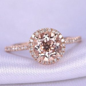 Shop Morganite Engagement Rings! Morganite Engagement Ring 7mm Round Morganite Ring Diamond Matching Band 14k Rose Gold Promise Ring Personalized for her Custom ring | Natural genuine Morganite rings, simple unique alternative gemstone engagement rings. #rings #jewelry #bridal #wedding #jewelryaccessories #engagementrings #weddingideas #affiliate #ad