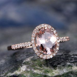 Oval morganite ring morganite engagement ring 14k rose gold real diamond halo ring antique unique half eternity promise bridal wedding ring | Natural genuine Gemstone rings, simple unique alternative gemstone engagement rings. #rings #jewelry #bridal #wedding #jewelryaccessories #engagementrings #weddingideas #affiliate #ad