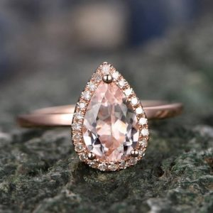 Shop Morganite Jewelry! Morganite engagement ring-handmade Solid 14k Rose gold ring-Solitaire Stacking band-5x7mm Tear Drop Halo gemstone promise ring-Bridal Ring | Natural genuine Morganite jewelry. Buy handcrafted artisan wedding jewelry.  Unique handmade bridal jewelry gift ideas. #jewelry #beadedjewelry #gift #crystaljewelry #shopping #handmadejewelry #wedding #bridal #jewelry #affiliate #ad