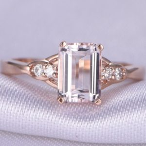 Morganite Engagement Ring Pink Morganite Ring 5x7mm Emerald Cut Natural Gemstone Diamond Accent Solid 14k Rose Gold Bridal Ring | Natural genuine Array jewelry. Buy handcrafted artisan wedding jewelry.  Unique handmade bridal jewelry gift ideas. #jewelry #beadedjewelry #gift #crystaljewelry #shopping #handmadejewelry #wedding #bridal #jewelry #affiliate #ad