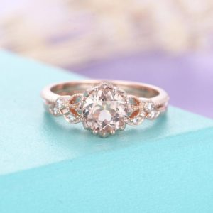 Shop Morganite Rings! Morganite engagement ring rose gold engagement ring vintage Art deco Antique diamond wedding ring  Bridal set Jewelry Anniversary | Natural genuine Morganite rings, simple unique alternative gemstone engagement rings. #rings #jewelry #bridal #wedding #jewelryaccessories #engagementrings #weddingideas #affiliate #ad