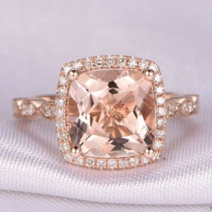 Morganite Engagement Ring Rose Gold Morganite Ring 8x8mm Cushion Cut Stone Diamond Wedding Band Marquise Art Deco Antique Style Bridal Ring | Natural genuine Array rings, simple unique alternative gemstone engagement rings. #rings #jewelry #bridal #wedding #jewelryaccessories #engagementrings #weddingideas #affiliate #ad