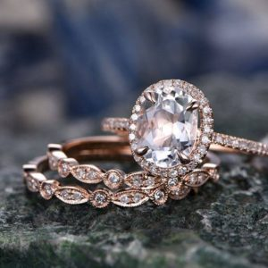 Morganite engagement ring set rose gold ring diamond halo oval 3pcs matching unique antique marquise wedding bridal promise ring set for her | Natural genuine Gemstone rings, simple unique alternative gemstone engagement rings. #rings #jewelry #bridal #wedding #jewelryaccessories #engagementrings #weddingideas #affiliate #ad