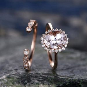 Morganite engagement ring set solid 14k rose gold ring real diamond ring unique oval flower open gap wedding promise ring bridal ring set | Natural genuine Gemstone rings, simple unique alternative gemstone engagement rings. #rings #jewelry #bridal #wedding #jewelryaccessories #engagementrings #weddingideas #affiliate #ad