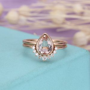Morganite Engagement Ring Vintage Rose Gold Diamond Wedding ring set Women Bridal Jewelry Pear Shaped Cut Stacking Alternative Anniversary | Natural genuine Morganite jewelry. Buy handcrafted artisan wedding jewelry.  Unique handmade bridal jewelry gift ideas. #jewelry #beadedjewelry #gift #crystaljewelry #shopping #handmadejewelry #wedding #bridal #jewelry #affiliate #ad