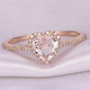 Shop Morganite Engagement Rings! Heart shape morganite Engagement ring 14k Rose gold 6mm stone diamond Wedding Band Promise ring Anniversary ring Wedding ring | Natural genuine Morganite rings, simple unique alternative gemstone engagement rings. #rings #jewelry #bridal #wedding #jewelryaccessories #engagementrings #weddingideas #affiliate #ad