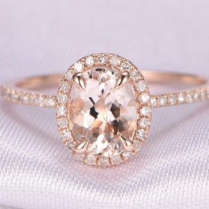 Shop Morganite Jewelry! Natural Pink Morganite Engagement Ring 5x7mm Oval Cut Morganite Ring Diamond Wedding Band 14k Rose Gold Bridal Ring Anniversary Ring | Natural genuine Morganite jewelry. Buy handcrafted artisan wedding jewelry.  Unique handmade bridal jewelry gift ideas. #jewelry #beadedjewelry #gift #crystaljewelry #shopping #handmadejewelry #wedding #bridal #jewelry #affiliate #ad