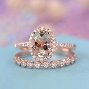 Shop Morganite Jewelry! Oval cut Morganite engagement ring rose gold Vintage Halo Diamond Wedding women Antique Art deco Bridal set Half Eternity Anniversary gift | Natural genuine Morganite jewelry. Buy handcrafted artisan wedding jewelry.  Unique handmade bridal jewelry gift ideas. #jewelry #beadedjewelry #gift #crystaljewelry #shopping #handmadejewelry #wedding #bridal #jewelry #affiliate #ad