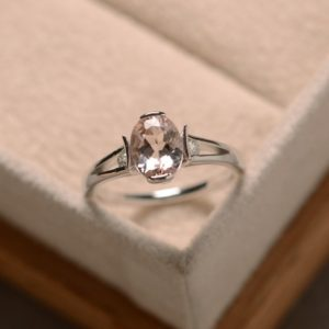 Shop Morganite Jewelry! Morganite ring, oval morganite, sterling silver, promise ring, engagement ring | Natural genuine Morganite jewelry. Buy handcrafted artisan wedding jewelry.  Unique handmade bridal jewelry gift ideas. #jewelry #beadedjewelry #gift #crystaljewelry #shopping #handmadejewelry #wedding #bridal #jewelry #affiliate #ad