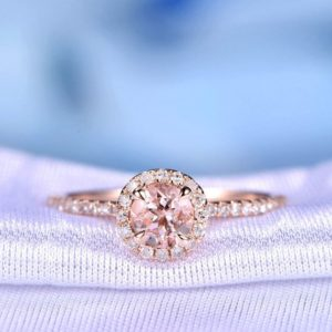 Pink Morganite Engagement Ring 14k Rose gold 5mm Round Cut Gem Stone Diamond Wedding Ring Art Deco Antique Personalized for him/her Custom | Natural genuine Array jewelry. Buy handcrafted artisan wedding jewelry.  Unique handmade bridal jewelry gift ideas. #jewelry #beadedjewelry #gift #crystaljewelry #shopping #handmadejewelry #wedding #bridal #jewelry #affiliate #ad