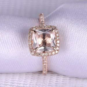 Shop Morganite Jewelry! Pink Morganite Engagement Ring 7mm Princess Cut Morganite Ring Solid 14k Rose Gold Diamond Wedding Band Personalized for her Custom ring | Natural genuine Morganite jewelry. Buy handcrafted artisan wedding jewelry.  Unique handmade bridal jewelry gift ideas. #jewelry #beadedjewelry #gift #crystaljewelry #shopping #handmadejewelry #wedding #bridal #jewelry #affiliate #ad