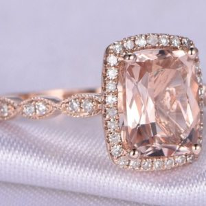 Shop Morganite Jewelry! Pink Morganite Engagement Ring 7x9mm Cushion Cut Morganite 14k Rose gold Art Deco Diamond Wedding Ring Bridal Ring Marquise Design Band | Natural genuine Morganite jewelry. Buy handcrafted artisan wedding jewelry.  Unique handmade bridal jewelry gift ideas. #jewelry #beadedjewelry #gift #crystaljewelry #shopping #handmadejewelry #wedding #bridal #jewelry #affiliate #ad