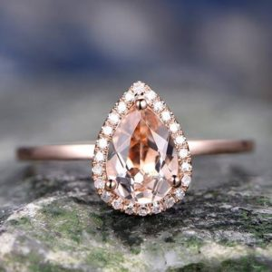 Shop Morganite Engagement Rings! Pink morganite engagement ring solid 14k rose gold ring real diamond halo ring pear antique unique gift bridal wedding promise ring for her | Natural genuine Morganite rings, simple unique alternative gemstone engagement rings. #rings #jewelry #bridal #wedding #jewelryaccessories #engagementrings #weddingideas #affiliate #ad