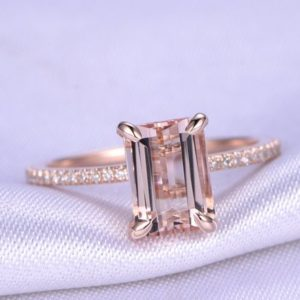 Shop Morganite Jewelry! Morganite Rose Gold Ring Morganite Engagement Ring 7x9mm Emerald Cut Natural Gemstone SI-H Natural Diamond Thin Matching Band 14K Solid Gold | Natural genuine Morganite jewelry. Buy handcrafted artisan wedding jewelry.  Unique handmade bridal jewelry gift ideas. #jewelry #beadedjewelry #gift #crystaljewelry #shopping #handmadejewelry #wedding #bridal #jewelry #affiliate #ad