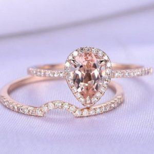 Morganite Ring Set Natural Morganite Engagement Ring 6X8mm Pear Cut Gemstone Curve Diamond Wedding Band Thin Stackable Ring 14k Rose Gold | Natural genuine Array rings, simple unique alternative gemstone engagement rings. #rings #jewelry #bridal #wedding #jewelryaccessories #engagementrings #weddingideas #affiliate #ad