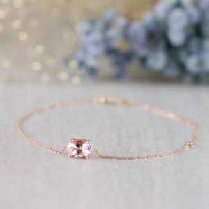 Shop Morganite Jewelry! Natural Morganite Bracelet | Solid 14K Gold | Chain Bracelet | Gemstone Bracelet | 5×7 Peachy Pink Morganite | Fine Jewelry | Free Shipping | Natural genuine Morganite jewelry. Buy crystal jewelry, handmade handcrafted artisan jewelry for women.  Unique handmade gift ideas. #jewelry #beadedjewelry #beadedjewelry #gift #shopping #handmadejewelry #fashion #style #product #jewelry #affiliate #ad