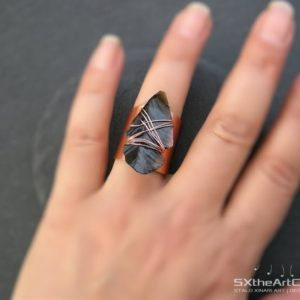 Black Obsidian Arrowhead Ring, Copper Ring, Bohemian Boho Chic Jewelry, Statement Ring, Sagittarius Scorpio Stone, Women Yoga Gift For Her | Natural genuine Obsidian rings, simple unique handcrafted gemstone rings. #rings #jewelry #shopping #gift #handmade #fashion #style #affiliate #ad
