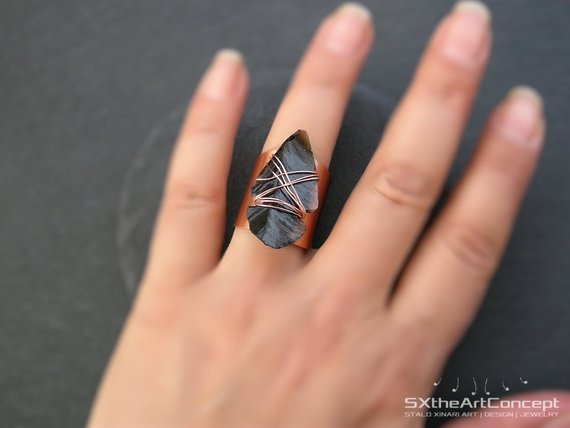 Black Obsidian Arrowhead Ring, Copper Ring, Bohemian Boho Chic Jewelry, Statement Ring, Sagittarius Scorpio Stone, Women Yoga Gift For Her