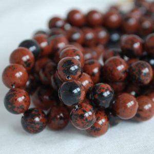 "Shop Obsidian Beads! High Quality Grade A Natural Mahogany Obsidian Semi-precious Gemstone Round Beads – 4mm, 6mm, 8mm, 10mm Sizes – Approx 16"" Strand 