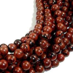 Shop Obsidian Beads! Mahogany Obsidian Beads, Round, 6mm, 15.5 Inch, Full strand, Approx 64 beads, Hole 1 mm, A quality (311054002) | Natural genuine beads Obsidian beads for beading and jewelry making.  #jewelry #beads #beadedjewelry #diyjewelry #jewelrymaking #beadstore #beading #affiliate