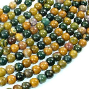 Shop Ocean Jasper Beads! Ocean Jasper, 6mm(6.5mm) Round beads, 16 Inch, Full strand, Approx 64 beads, Hole 1mm (330054015) | Natural genuine beads Ocean Jasper beads for beading and jewelry making.  #jewelry #beads #beadedjewelry #diyjewelry #jewelrymaking #beadstore #beading #affiliate