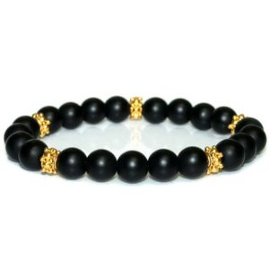 Shop Onyx Bracelets! Men's Bracelet, For Men, Black Onyx and Gold Vermeil Bracelet, Mens Bracelet, Bracelet for Man, Bracelets for Men, Mens Bracelet, For Man | Natural genuine Onyx bracelets. Buy handcrafted artisan men's jewelry, gifts for men.  Unique handmade mens fashion accessories. #jewelry #beadedbracelets #beadedjewelry #shopping #gift #handmadejewelry #bracelets #affiliate #ad